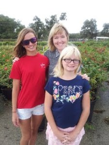 The three Nelson Girls in the rose Field
